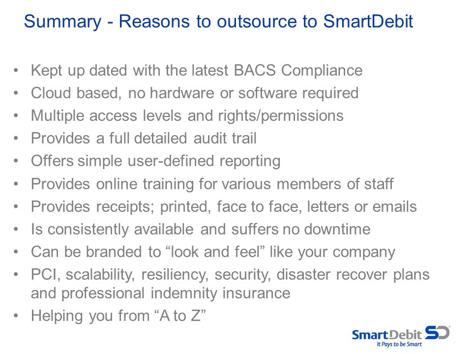 Summary - Reasons to outsource to SmartDebit