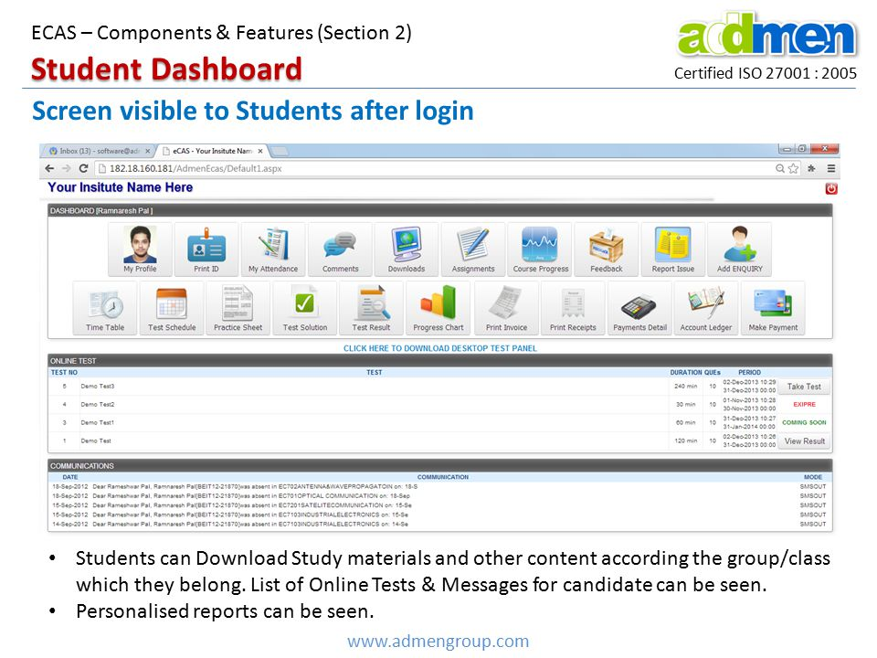 Student Dashboard Screen visible to Students after login