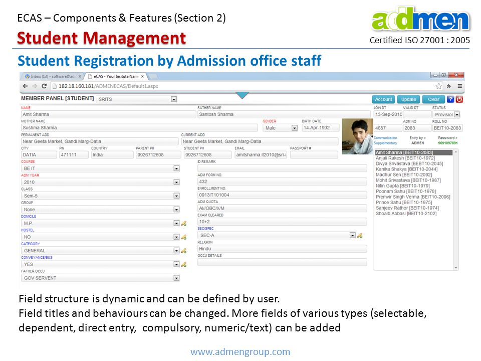 Student Management Student Registration by Admission office staff
