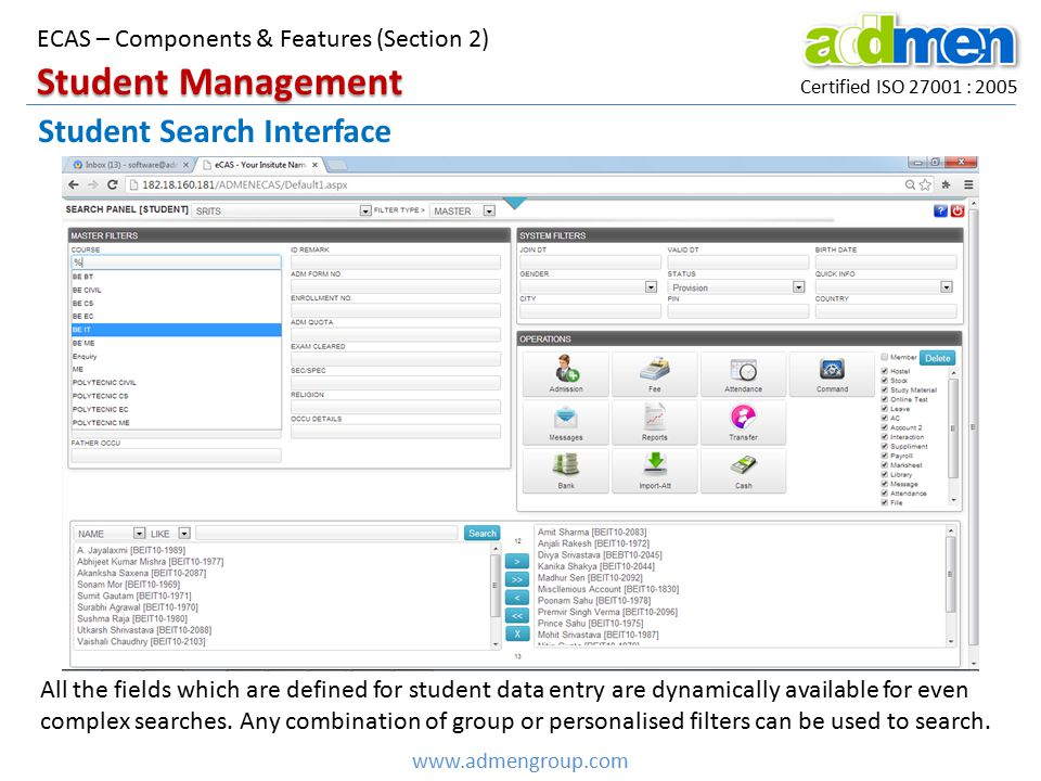 Student Management Student Search Interface