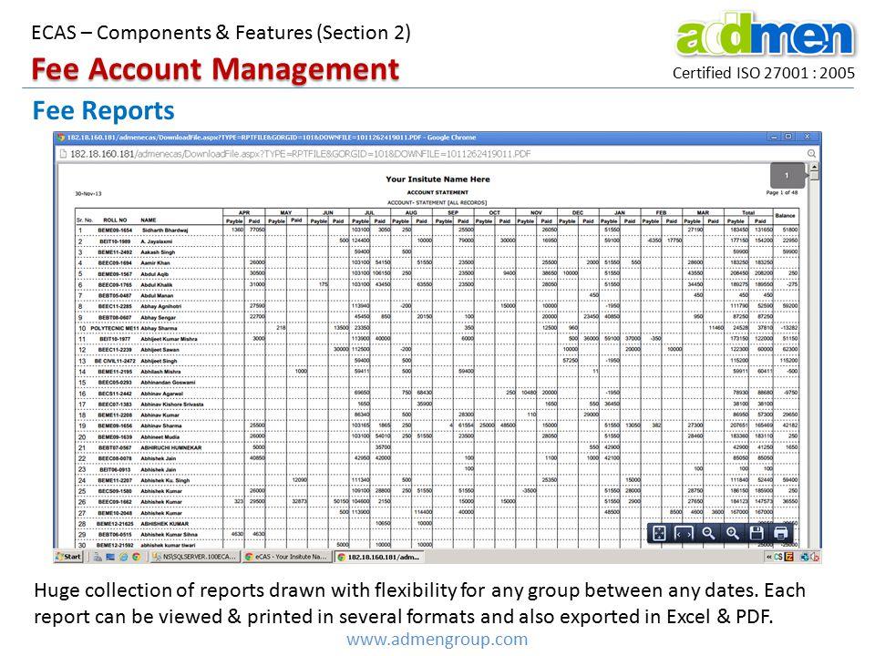 Fee Account Management