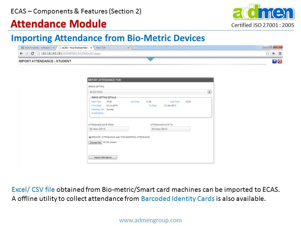 Attendance Module Importing Attendance from Bio-Metric Devices