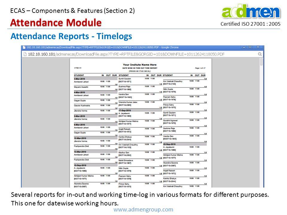Attendance Module Attendance Reports - Timelogs
