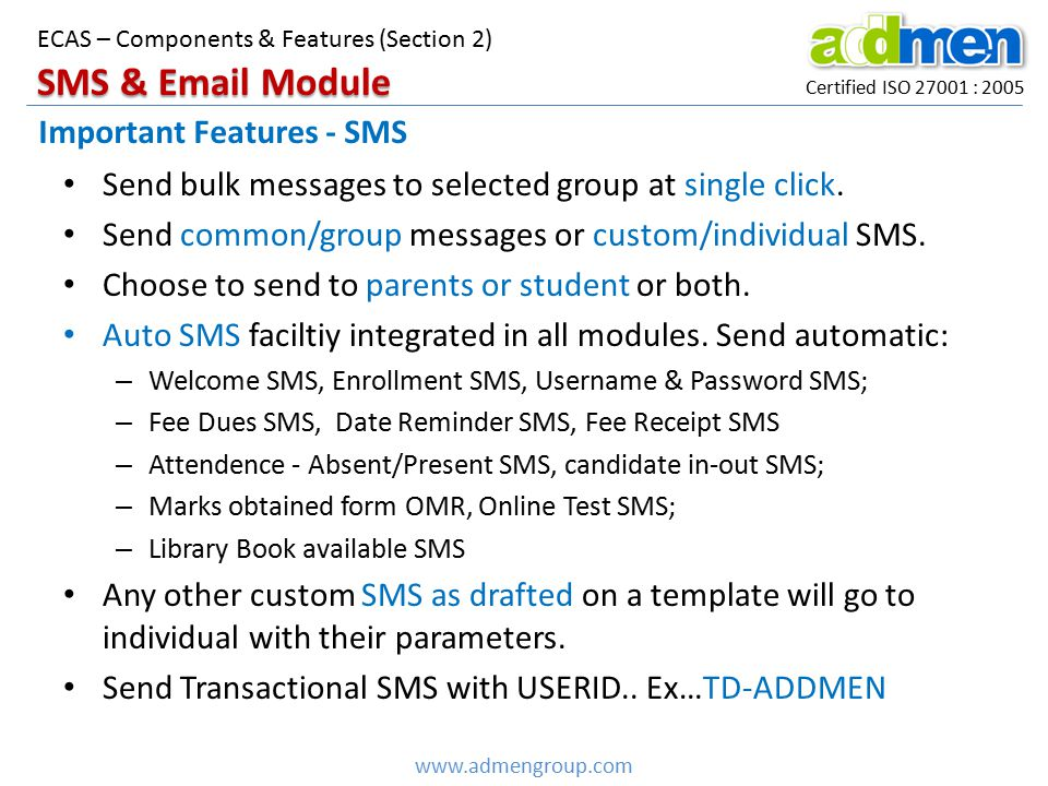 SMS & Email Module Important Features - SMS