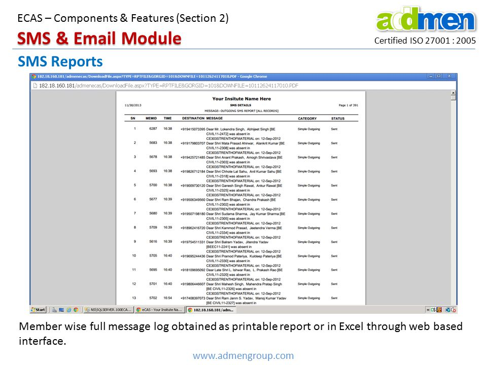 SMS & Email Module SMS Reports