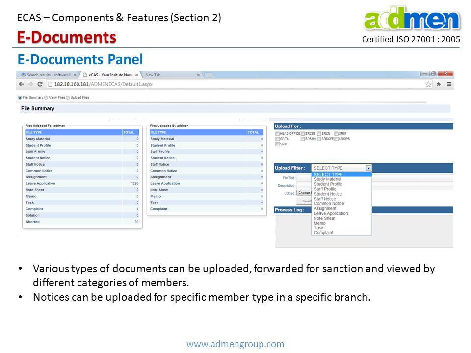E-Documents E-Documents Panel ECAS – Components & Features (Section 2)