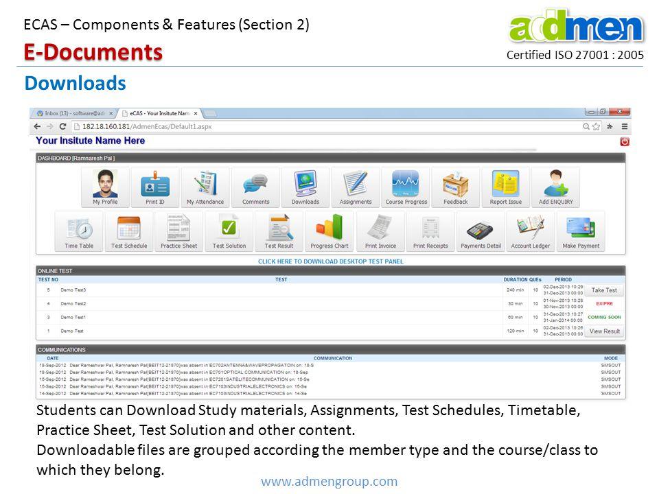 E-Documents Downloads ECAS – Components & Features (Section 2)
