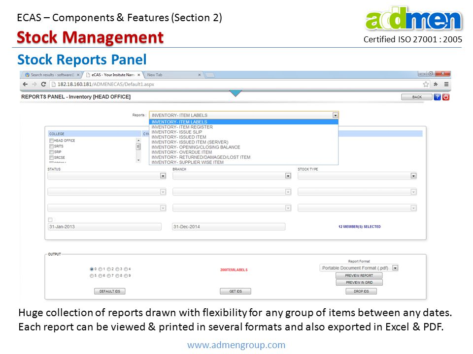 Stock Management Stock Reports Panel