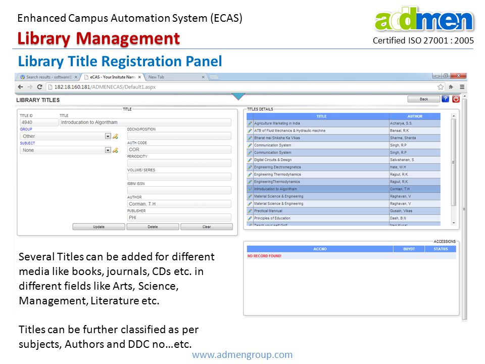 Library Management Library Title Registration Panel
