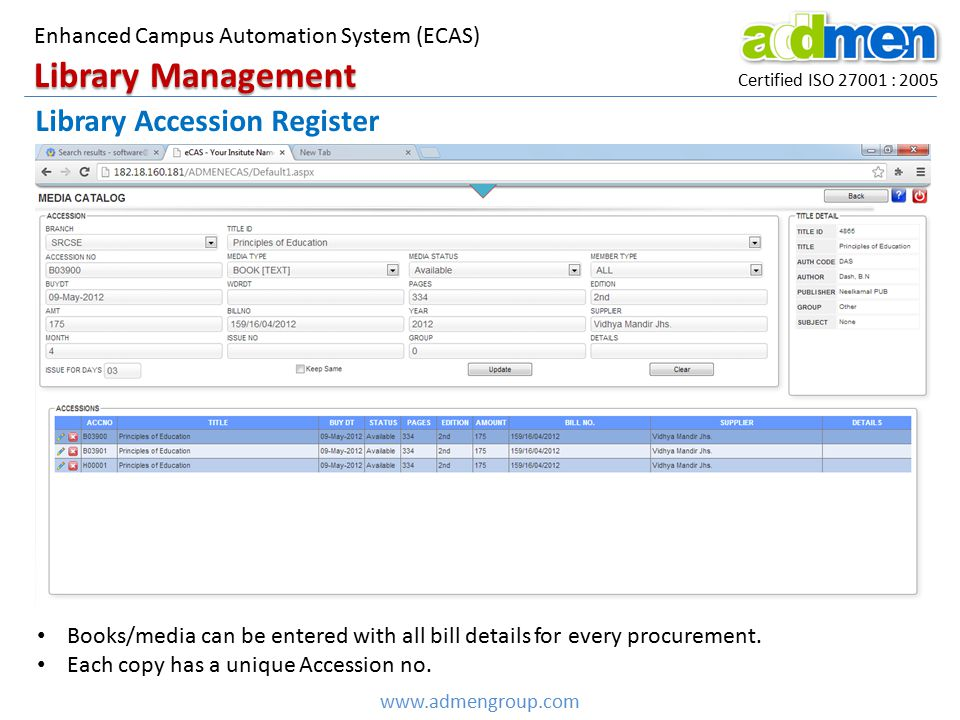 Library Management Library Accession Register