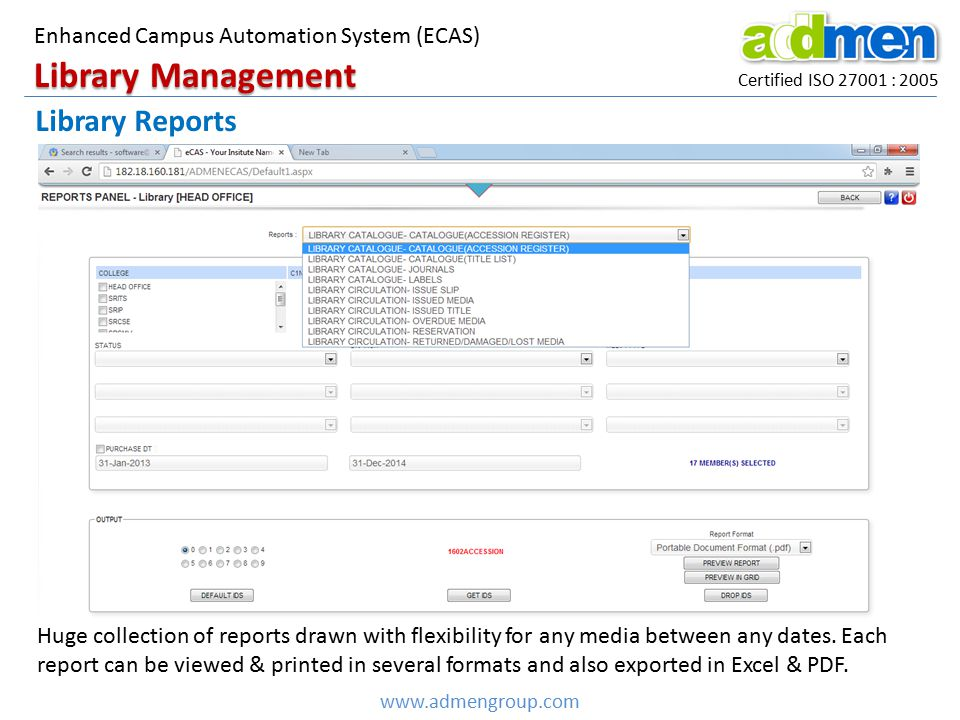 Library Management Library Reports
