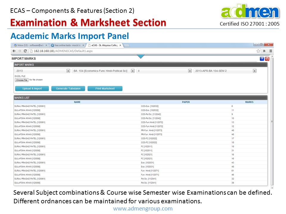 Examination & Marksheet Section