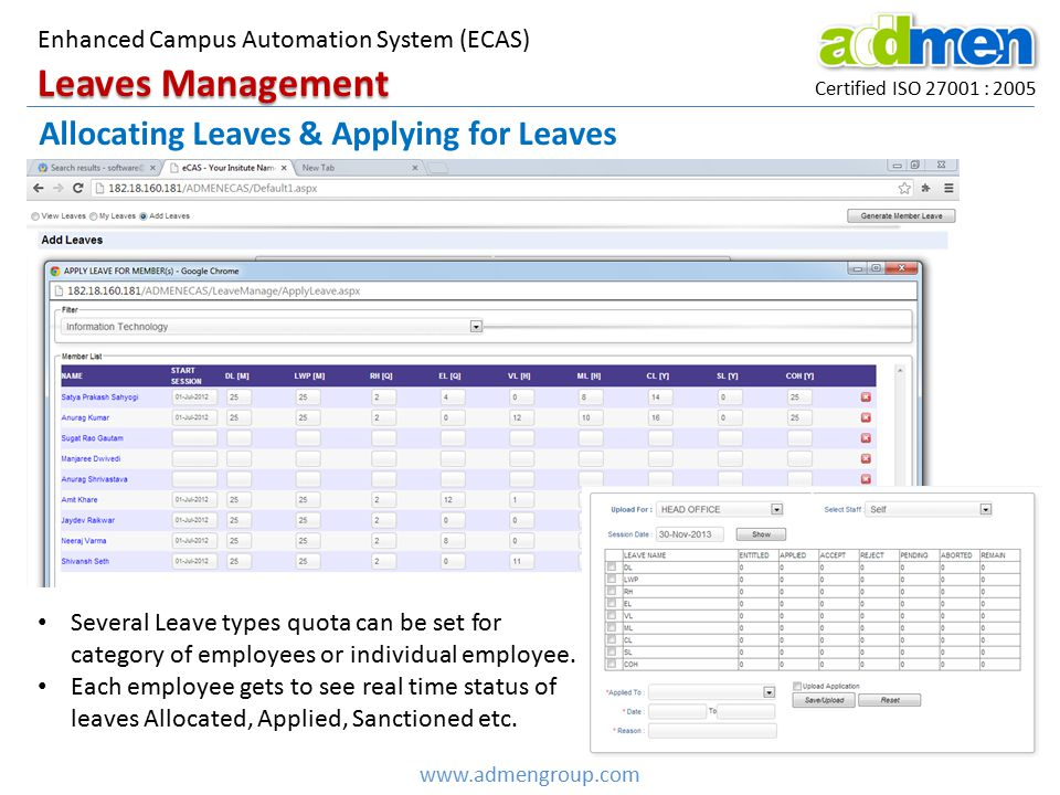 Leaves Management Allocating Leaves & Applying for Leaves