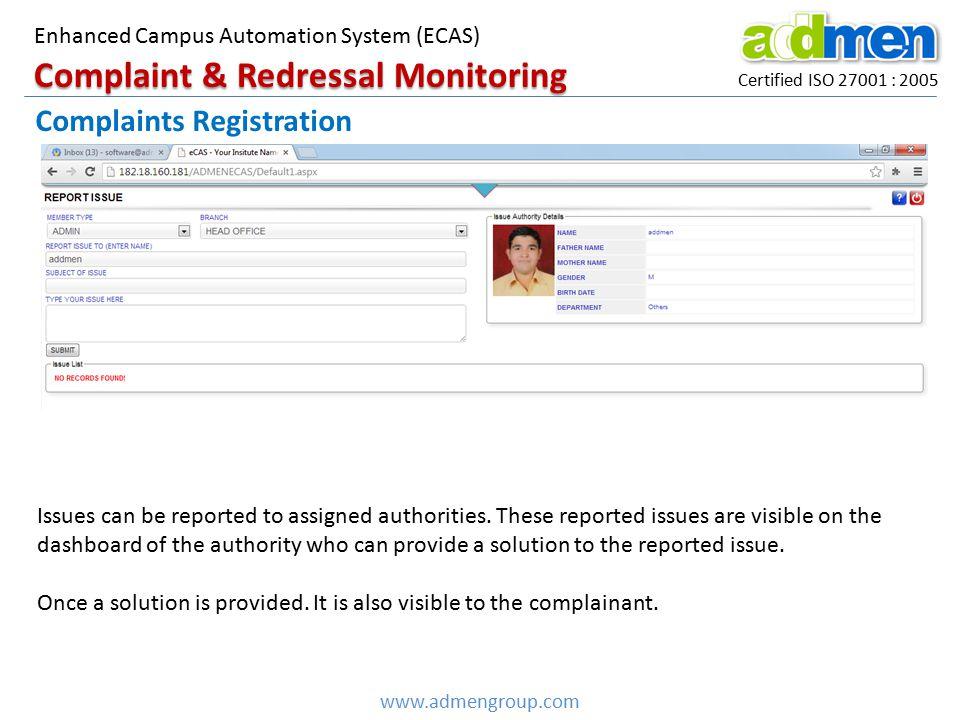 Complaint & Redressal Monitoring