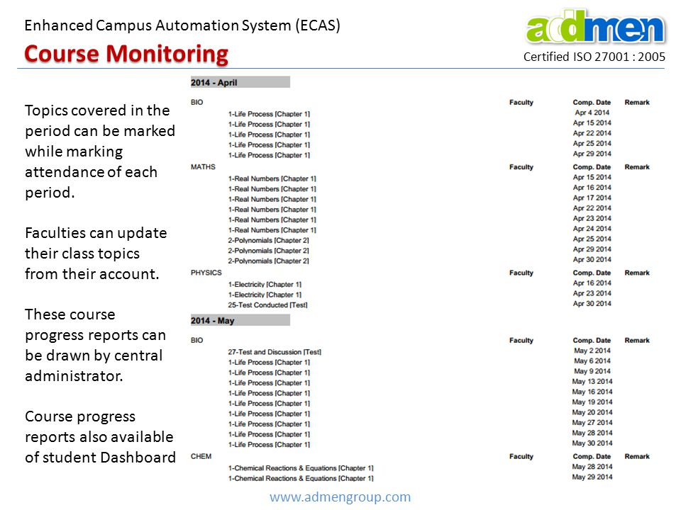 Course Monitoring Enhanced Campus Automation System (ECAS)