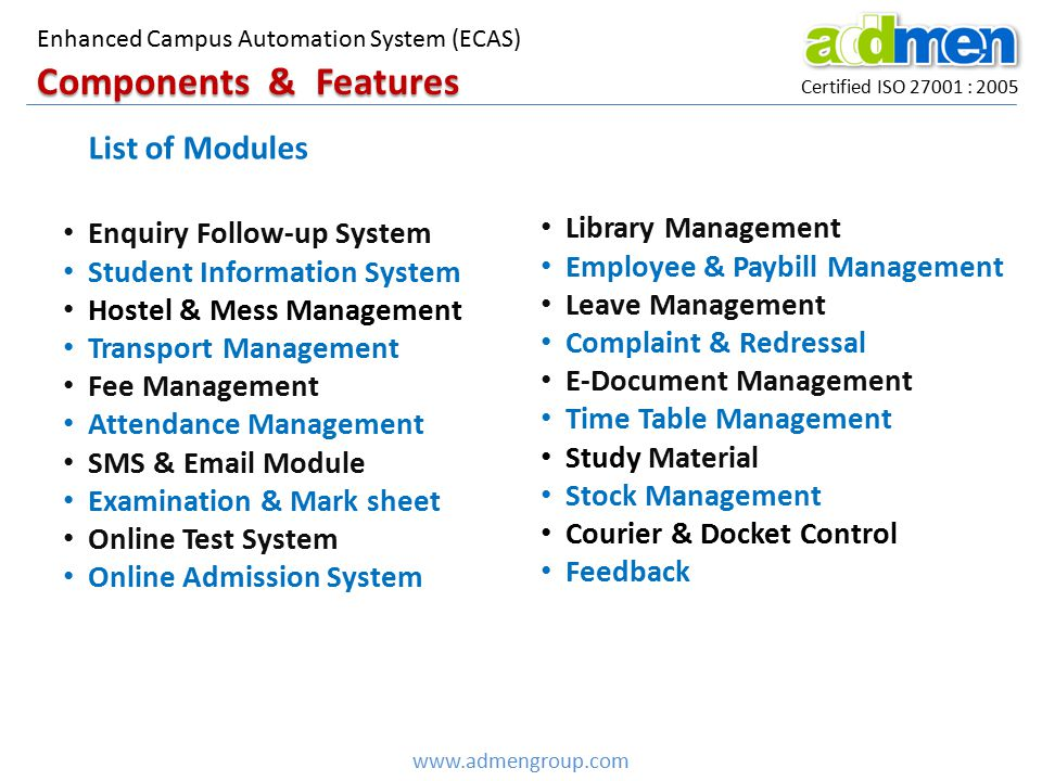 Components & Features List of Modules Library Management