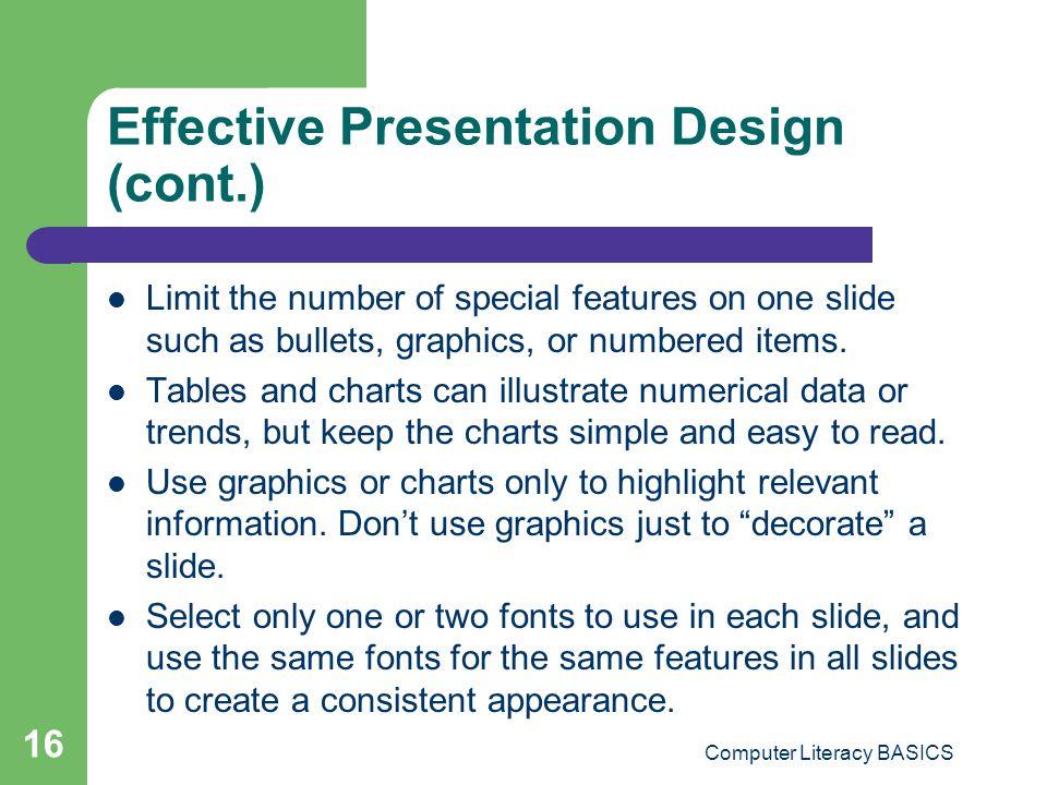 Effective Presentation Design (cont.)