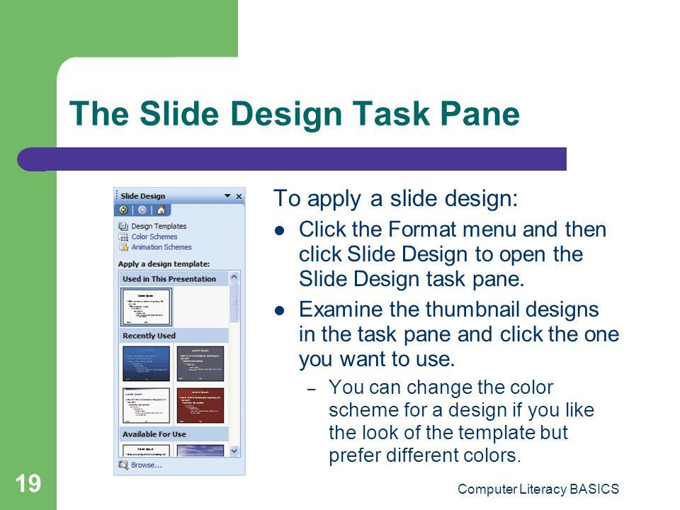 The Slide Design Task Pane