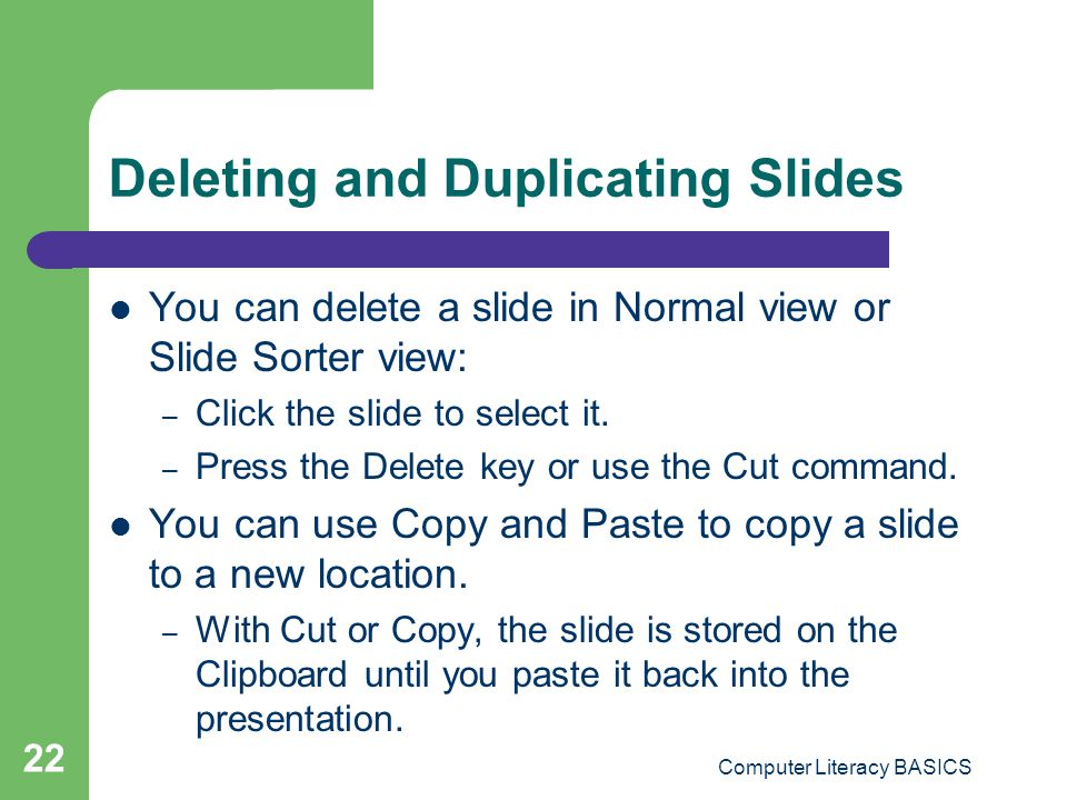 Deleting and Duplicating Slides