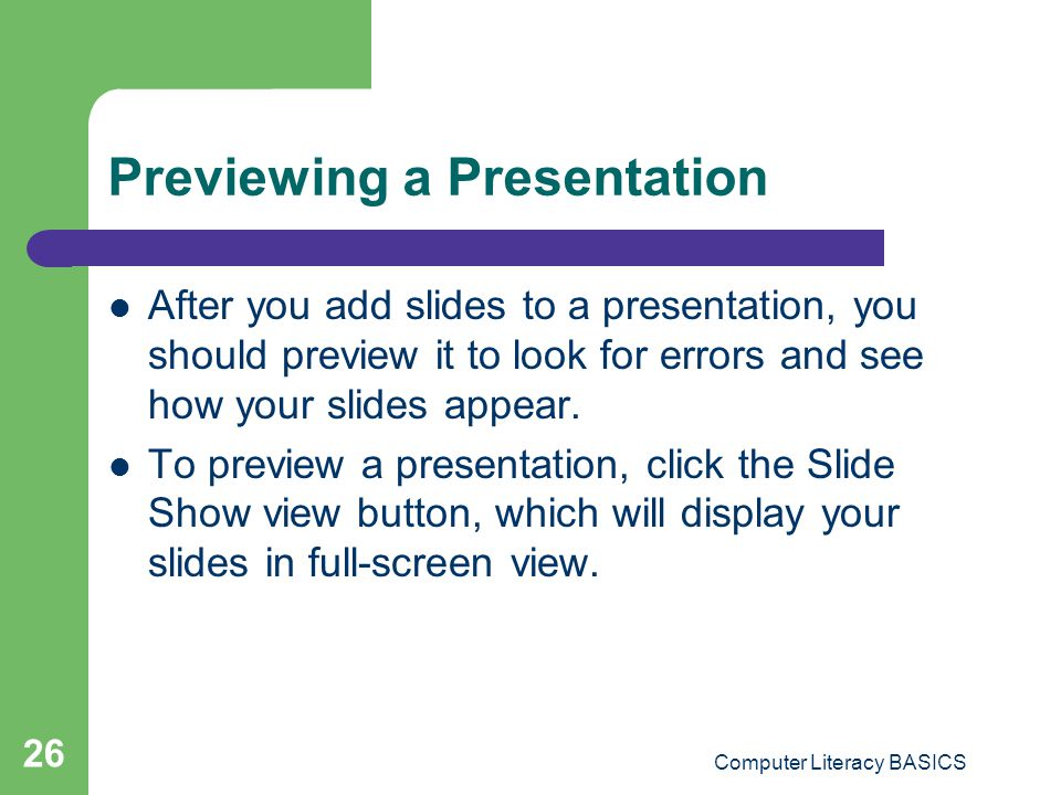 Previewing a Presentation