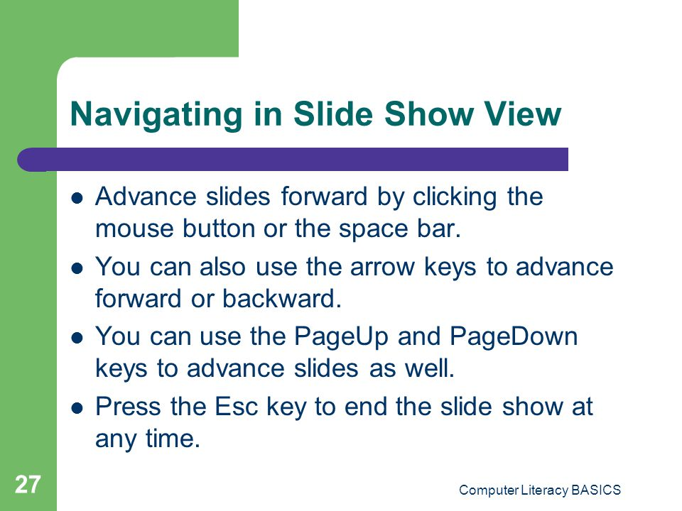 Navigating in Slide Show View