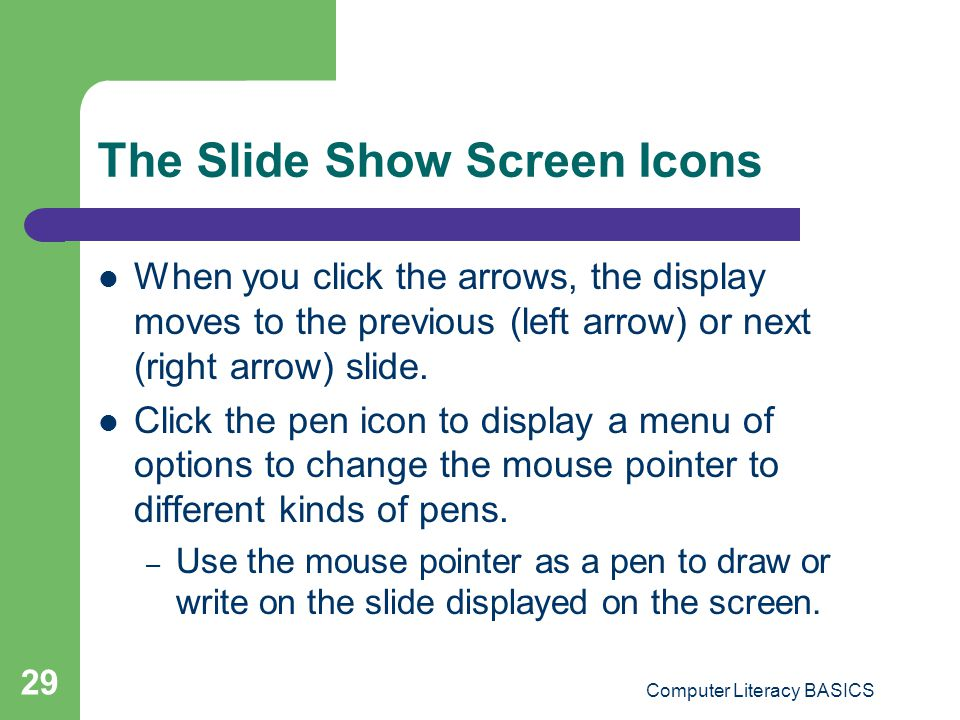 The Slide Show Screen Icons