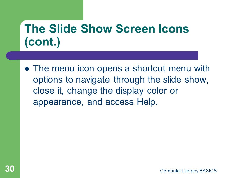 The Slide Show Screen Icons (cont.)