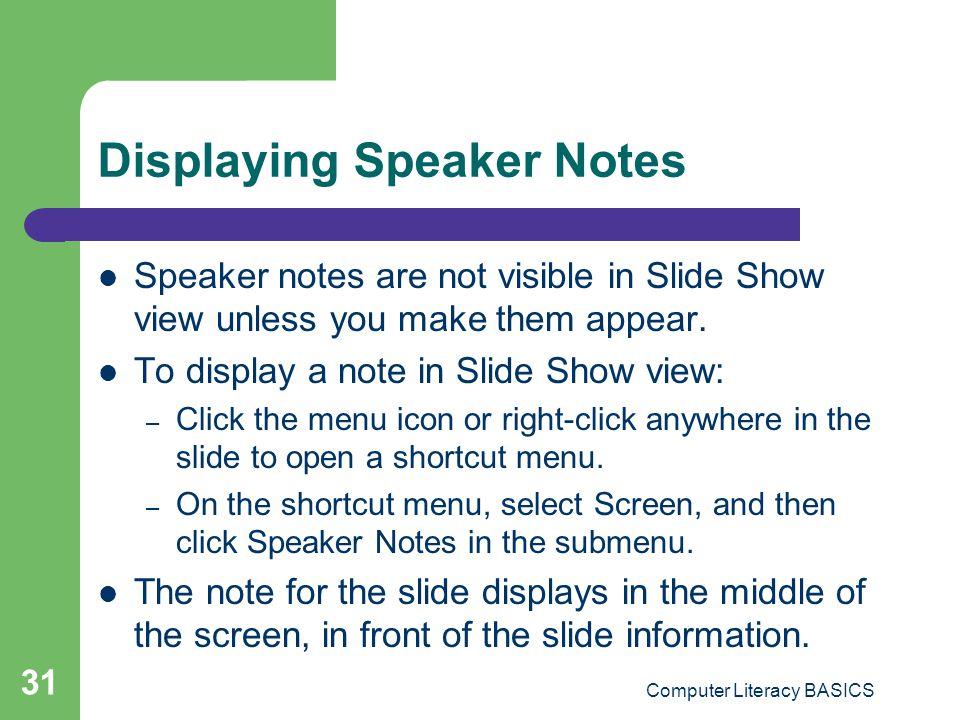 Displaying Speaker Notes
