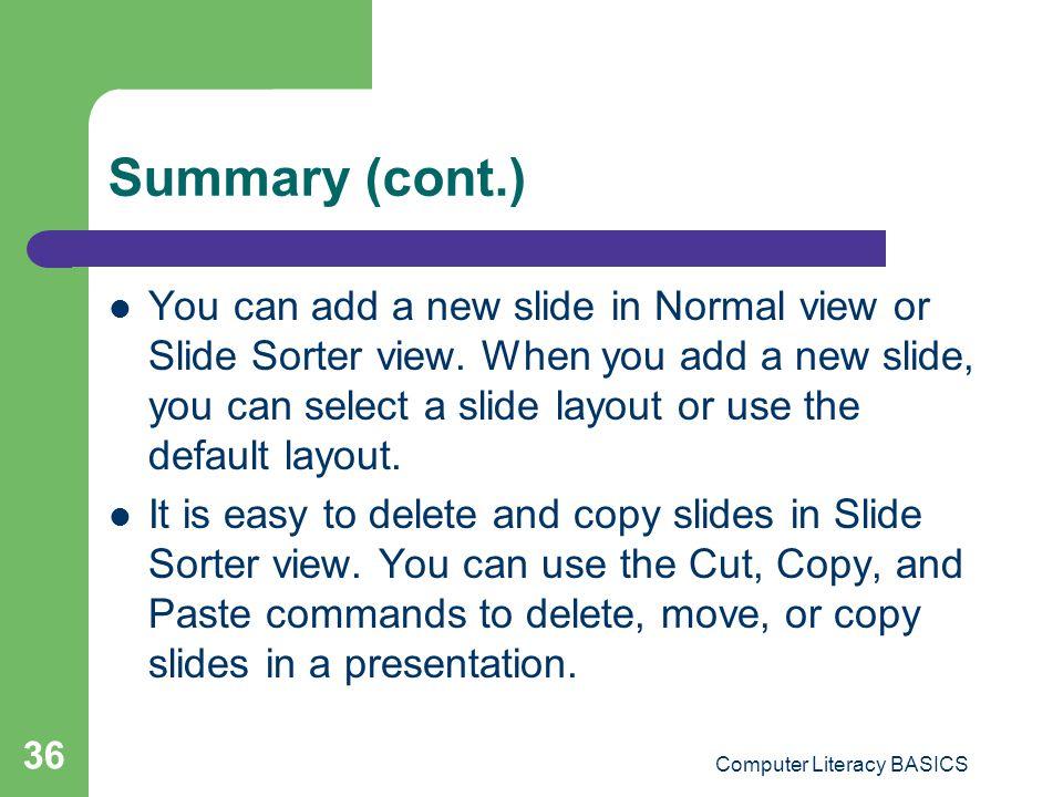 Computer Literacy BASICS