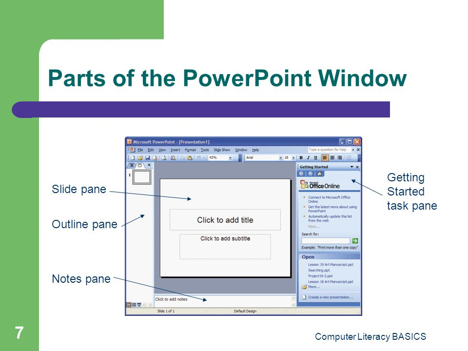 Parts of the PowerPoint Window