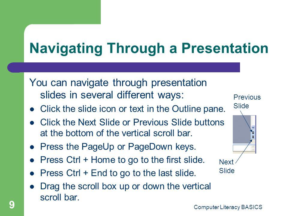 Navigating Through a Presentation