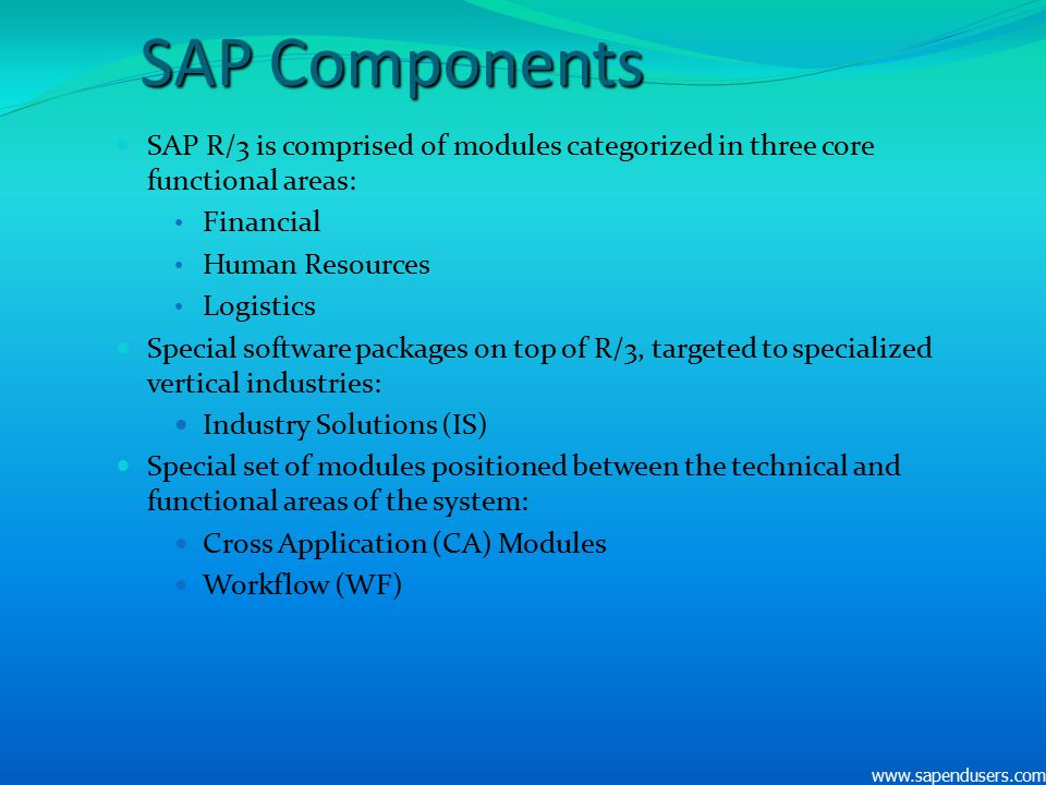 SAP Components SAP R/3 is comprised of modules categorized in three core functional areas: Financial.