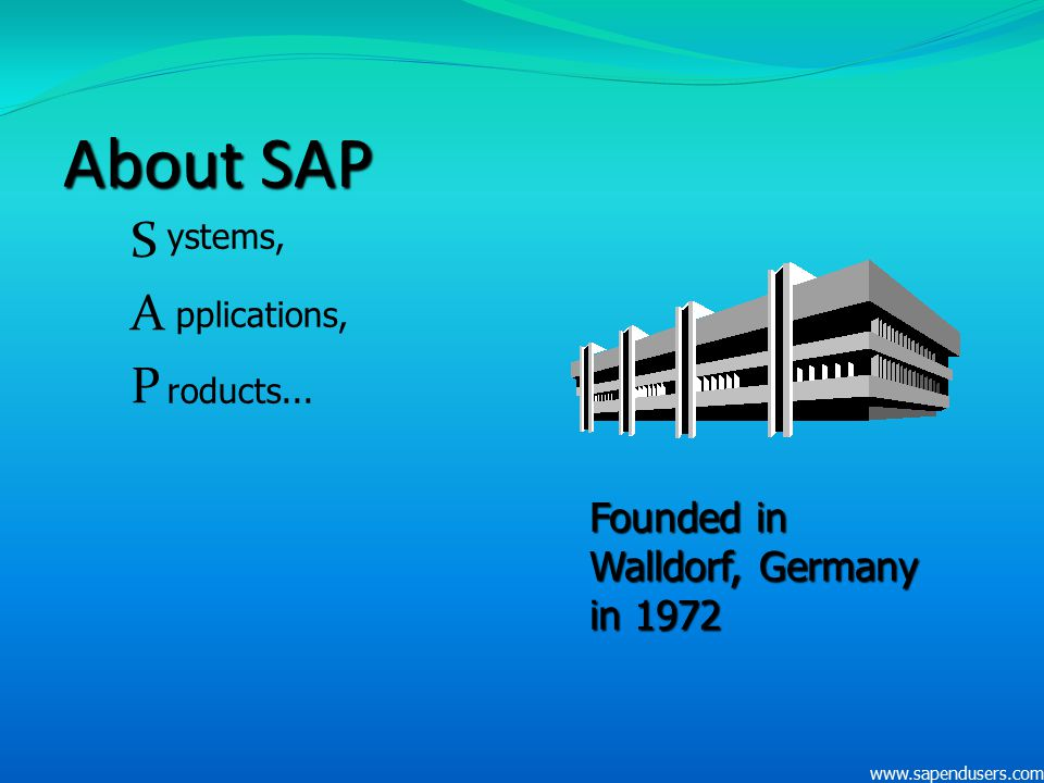 About SAP S A P Founded in Walldorf, Germany in 1972 ystems,