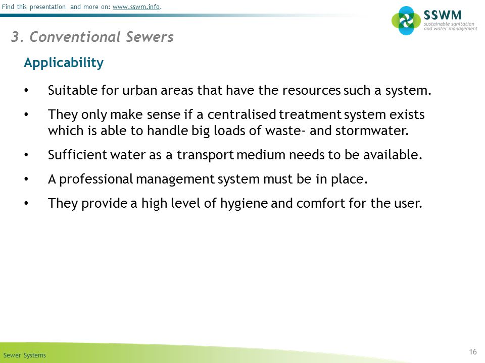 3. Conventional Sewers Applicability