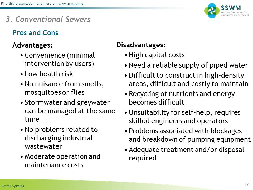 3. Conventional Sewers Pros and Cons Advantages: