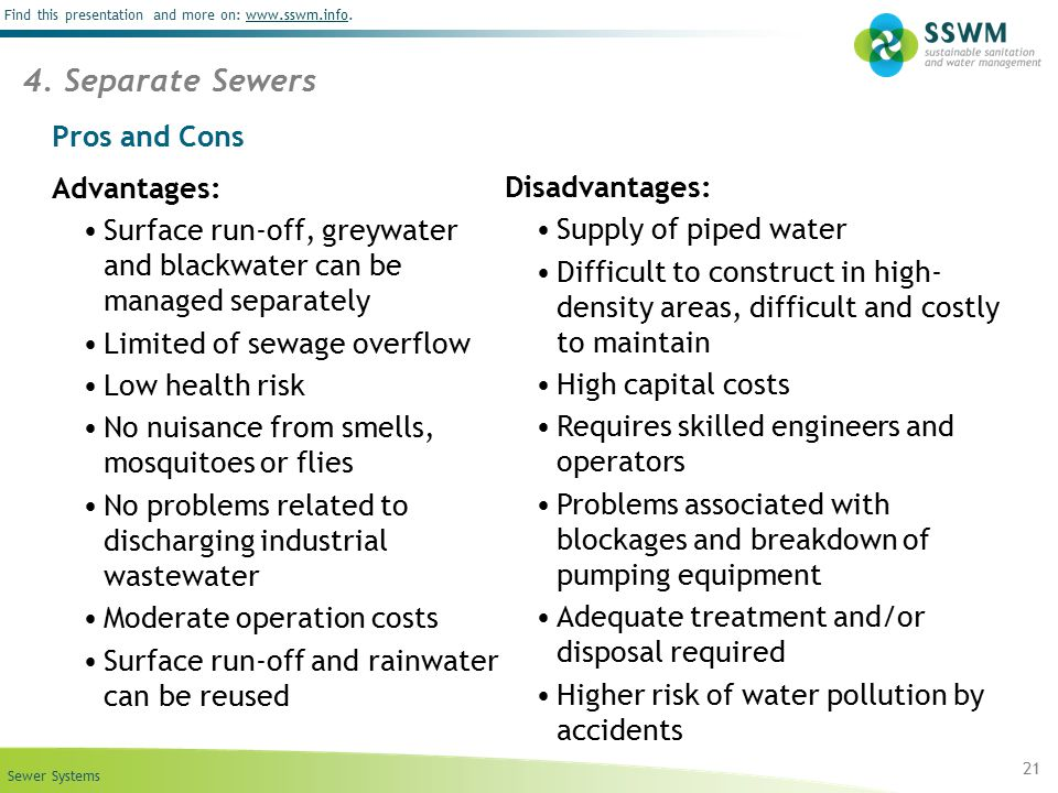 4. Separate Sewers Pros and Cons Advantages: