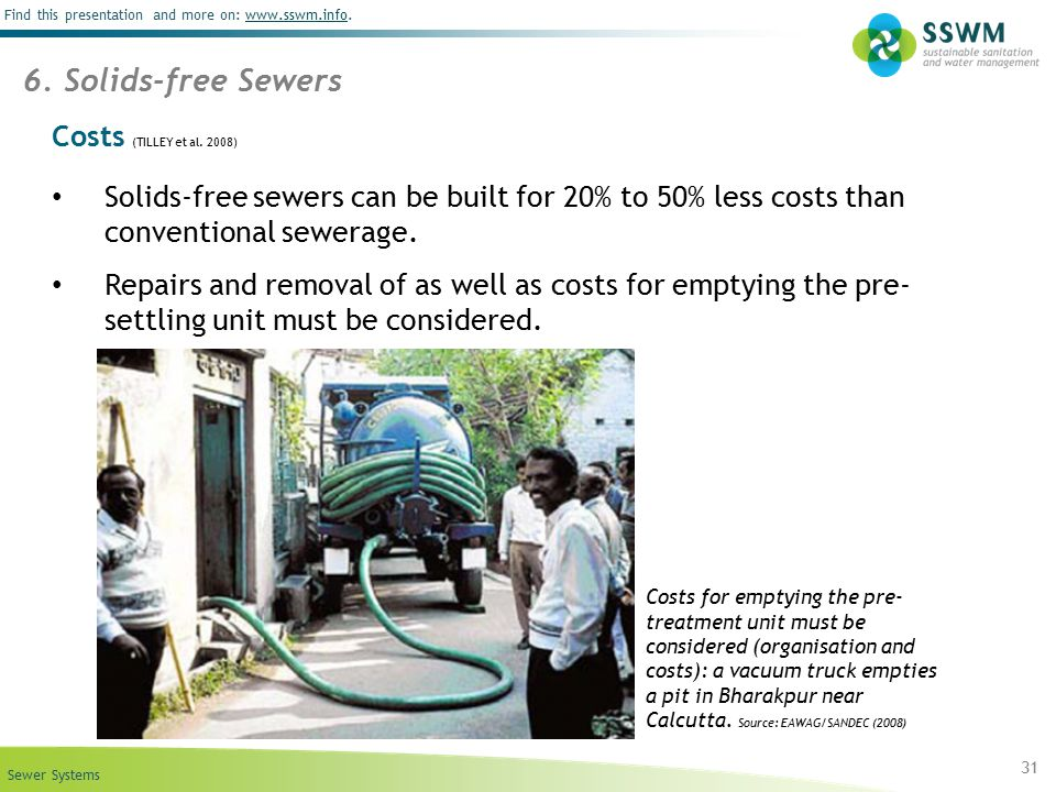 6. Solids-free Sewers Costs (TILLEY et al. 2008)