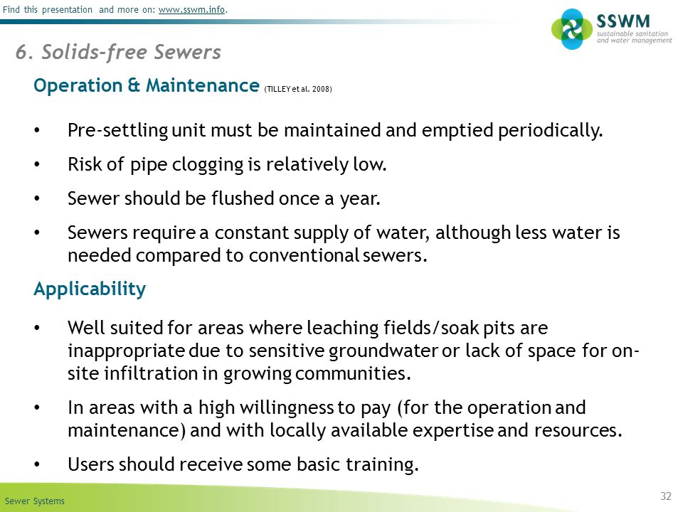 6. Solids-free Sewers Operation & Maintenance (TILLEY et al. 2008)