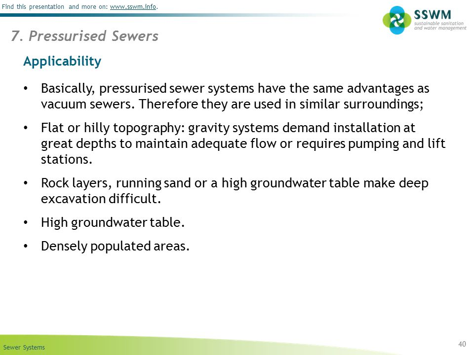 7. Pressurised Sewers Applicability