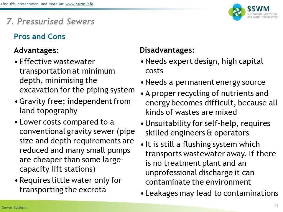 7. Pressurised Sewers Pros and Cons Advantages: