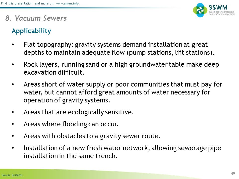 8. Vacuum Sewers Applicability