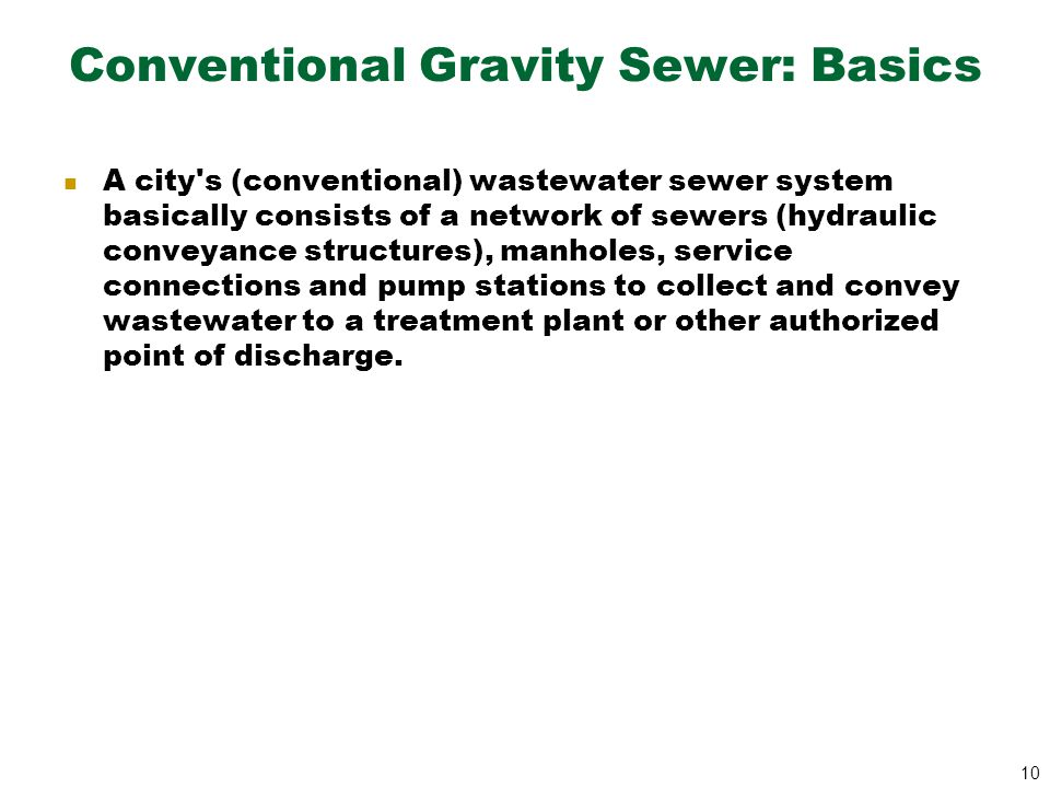 Conventional Gravity Sewer: Basics