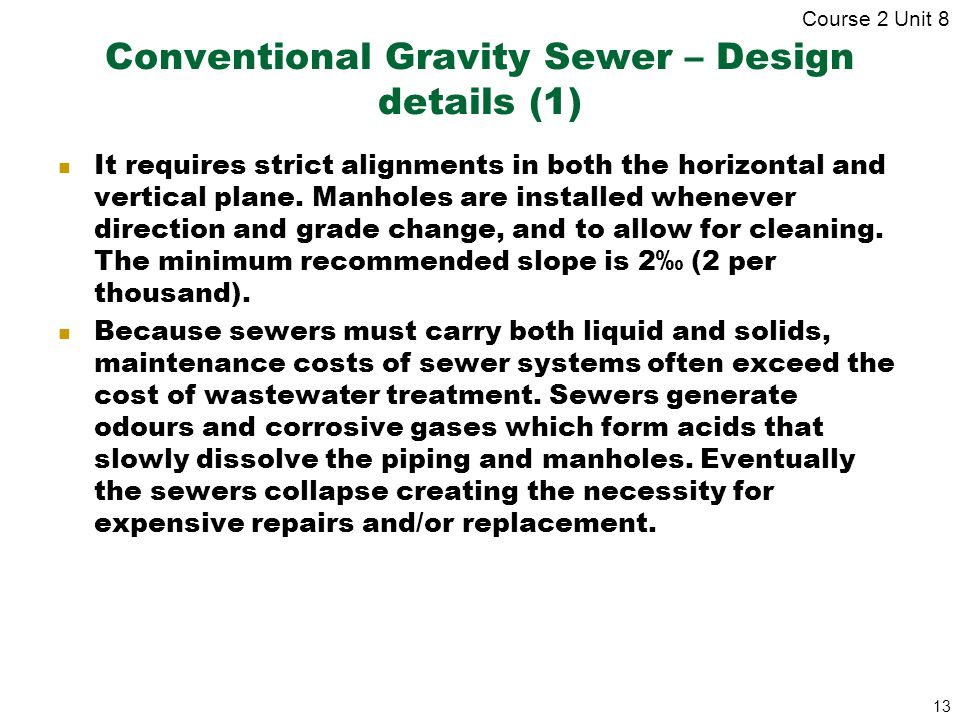 Conventional Gravity Sewer – Design details (1)