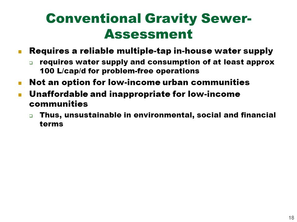 Conventional Gravity Sewer- Assessment