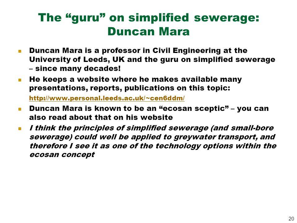 The guru on simplified sewerage: Duncan Mara