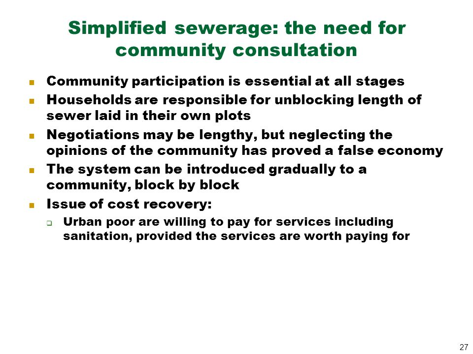 Simplified sewerage: the need for community consultation