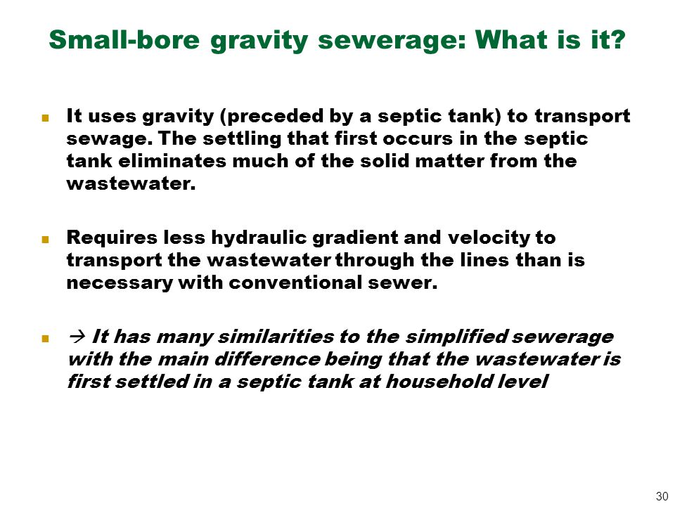 Small-bore gravity sewerage: What is it