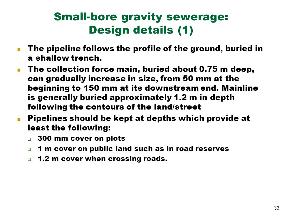 Small-bore gravity sewerage: Design details (1)