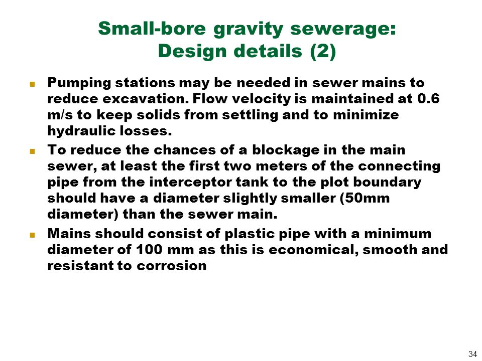 Small-bore gravity sewerage: Design details (2)