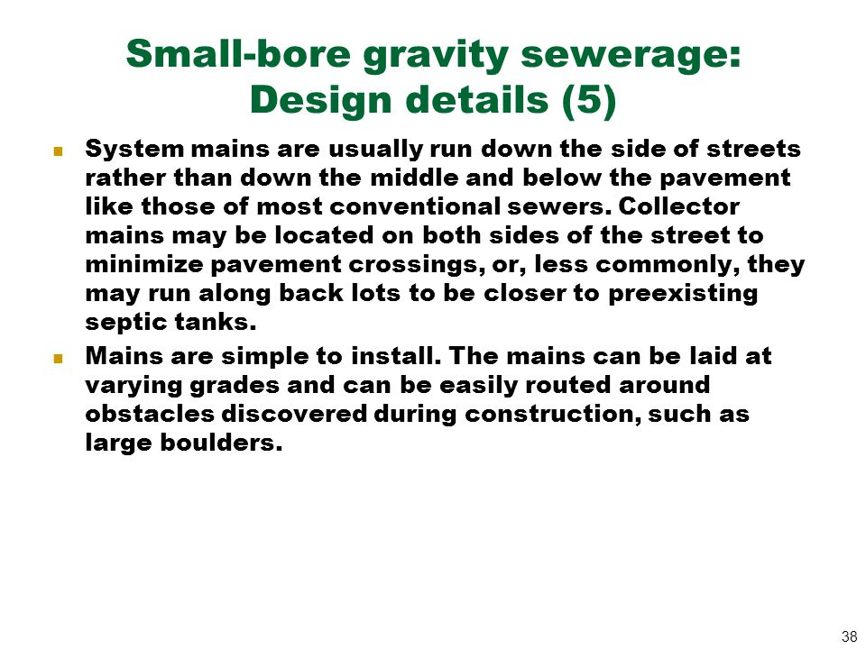 Small-bore gravity sewerage: Design details (5)